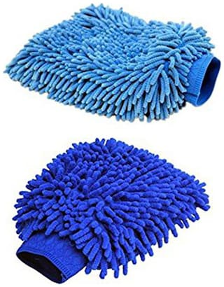 Aryshaa Double Sided Microfiber Hand Gloves Car Window Washing Kitchen Dust Cleaning Glove Assorted Colors (Pack of 2Pcs)