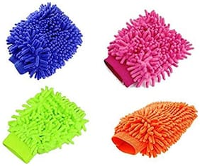 Aryshaa Double Sided Microfiber Hand Gloves Car Window Washing Kitchen Dust Cleaning Glove Assorted Colors (Pack of 4Pcs)