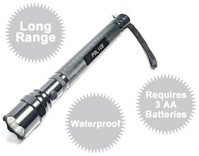 Aryshaa Police Torch Long Range Waterproof & Ultra Bright Flashlight Torch-16cm (Pack of 1)
