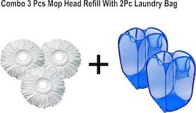 Aryshaa Smart Deal Combo of 2 Pcs Laundry Bag and 3Pcs Mop Head Refill (Assorted Colors)