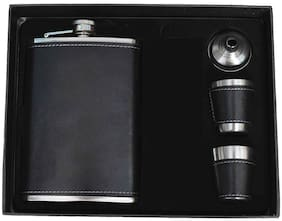 Aryshaa Stainless Steel (Hip Flask with 2 Shot Glasses + Funnel) 8 Oz (236 Ml) with Exclusive Box (Black)