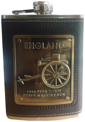 Aryshaa  Stainless Steel England Rubber Cover Black Wine Holder/Whiskey Holder/Liquor Holder Imported Hip Flask (Pack of 1)