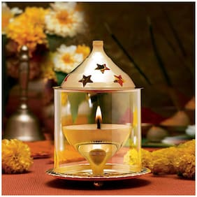 AS VENTURES  Akhand Diya for Puja with Brosilicate Glass Cover/Room Decoration/Pooja Oil Lamp with Extra Fine Quality Size Medium-(L3.75 W3.75 H5.75'' Inch)