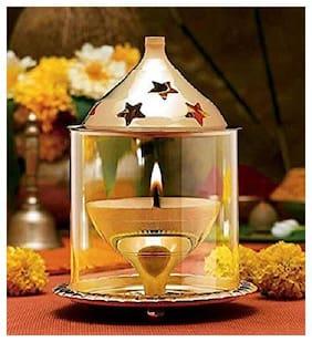 AS VENTURES Glass Akhand Diya (Gold_4.7 Inch X 4.7 Inch X 6.2 Inch)