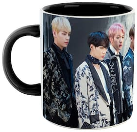 Ashvah BTS Bangtan Sonyeondan Printed Ceramic Coffee Mug  Black & White Color