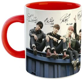 Ashvah BTS Signature Ceramic Coffee Mug  Red & White Color