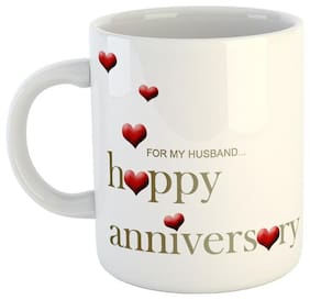 Ashvah Happy Anniversary for My Husband Quotes Coffee Mug-Anniversary Gift Mug- Gift for Husband;Boyfriend