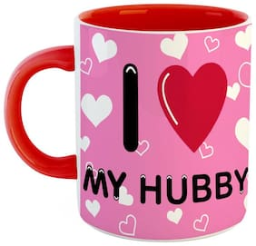 Ashvah Valentine Gifts for Boyfriend I Love My Hubby Printed Ceramic Coffee Mug Gift for Hubby Her Fiance Birthday Anniversary Red & White Color