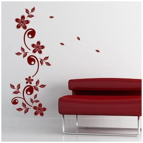 Asian Paints Wall Ons Maroon Motif Wall Sticker (PVC Vinyl;30.48cm x 76.20 cm;Maroon)