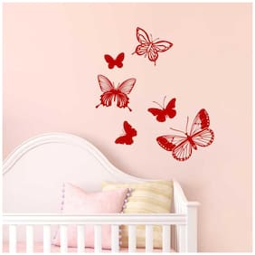 Asian Paints Wall Ons Red Intricate Butterflies Wall Sticker (PVC Vinyl;35.32cm x 25.33cm;Red)