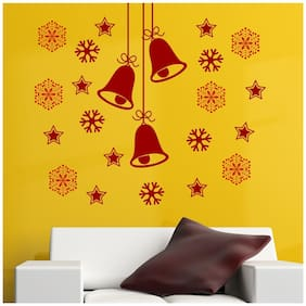 Asian Paints Snowflakes and Stars around Christmas bells Wallstickers(PVC;Vinyl 58.68cm*30.48cm;Maroon)