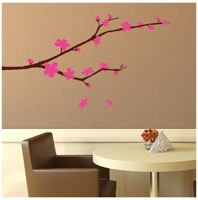 Asian Paints Wall Ons Pink Flowers and Branch Wall Sticker (PVC Vinyl;30.48cm x 76.20 cm;Multicolour)