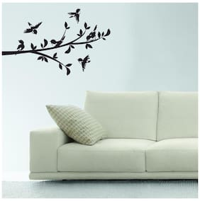 Asian Paints Wall Ons Branch with 6 Birds Wall Sticker (PVC Vinyl;30.48cm x 76.20 cm;Black)
