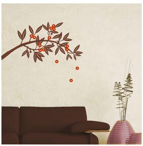 Asian Paints PVC Vinyl Wall Brown Floral Branch Wall Sticker (74.54x27.86 cm)