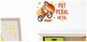 Asian Paints Wall Ons Chhota Bheem Cycling - Put the Pedal on the Metal (PVC Vinyl;45.72 cm x 33.02 cm)