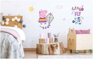 Asian Paints Wall Ons Original Peppa Pig 'XXL' - 'Fly a kite' Removable Wall Sticker
