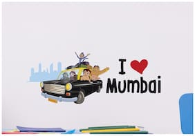 Asian Paints Wall Ons Chhota Bheem Travelling - I love Mumbai (PVC Vinyl;76.20 cm x 33.02 cm)
