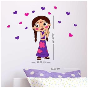 Asian Paints Nilaya - Chhota Bheem and Friends 14 x 18.5 wall decal - Chutki with Hearts
