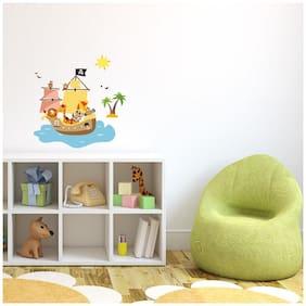 Asian Paints Kids Pirate Animals Wall Sticker (PVC Vinyl;30.48cm x 76.20 cm;Multicolour)