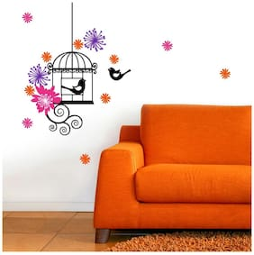 Asian Paints Birdcage Wall Sticker (PVC Vinyl;30.48cm x 76.20 cm;Multicolour)