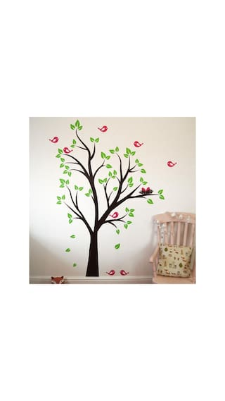 Asmi collections wall stickers beautiful tree pink birds and nest
