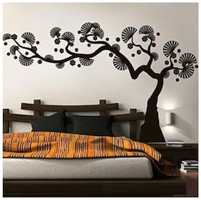 Asmi Collections PVC Wall Stickers Black Bonsai Tree - Right To Left