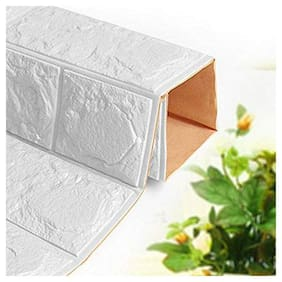 Aspiration Collection Waterproof Self-Adhesive Foam 3D Brick Decorative Wall Sticker for Home Living Room Bedroom (70 x 77 cm, WHITE ) 1 PCS