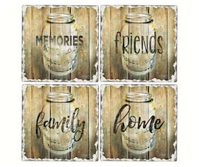 Assorted 4 Piece Tumbled Coaster Set - Mason Jars, Memory, Family, Friends, Home