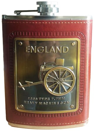 Attractive Design Stainless Steel Hip Flask (230ML) Brown Leather