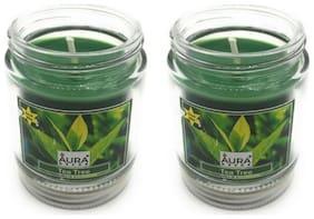 AuraDecor Glass Green Candle
