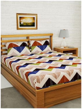 BIANCA Microfiber Striped Double Size Bedsheet 152 TC ( 1 Bedsheet With 2 Pillow Covers , Multi )