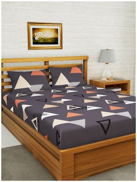BIANCA Microfiber Geometric Double Size Bedsheet 152 TC ( 1 Bedsheet With 2 Pillow Covers , Multi )