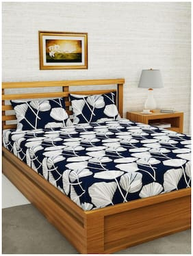 BIANCA Microfiber Floral Double Size Bedsheet 152 TC ( 1 Bedsheet With 2 Pillow Covers , Multi )