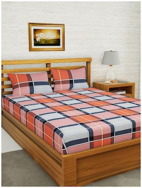 BIANCA Microfiber Checkered Double Size Bedsheet 152 TC ( 1 Bedsheet With 2 Pillow Covers , Multi )