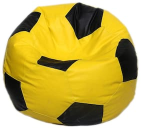 Autarky Leatherette Classic Football Shape Bean Bag Cover Without Beans (Yellow - Brown;XL)