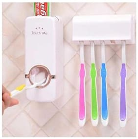 RJ star automatic toothpaste dispensor with toothbrush holder stand