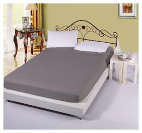 AVI Cotton Striped King Size Bedsheet 300 TC ( 1 Bedsheet With 2 Pillow Covers , Grey )