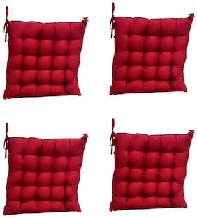 AVI 100% Cotton Decorative Damask Fabric Chair Pad Back Cushion with Ties For Chair;Sofa;Car Back Seat & Seating - 16x16x3Inches (Set of 4) - Maroon