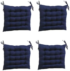 AVI 100% Cotton Decorative Damask Fabric Chair Pad Back Cushion with Ties For Chair;Sofa;Car Back Seat & Seating - 20x20x3Inches (Set of 4) - Dark Blue