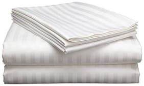 AVI 100% Cotton 300 Tc Double Bed Fitted Bedsheet 72x72 With 2 Pillow Covers (White)
