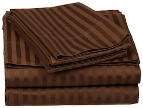 AVI Cotton Striped Double Size Bedsheet 144 TC ( 1 Bedsheet With 2 Pillow Covers , Brown )