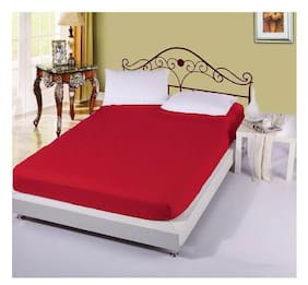 AVI Cotton Striped King Size Bedsheet 300 TC ( 1 Bedsheet With 2 Pillow Covers , Red )