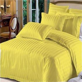 AVI Duvet Cover -Callifornia King Size - Premium Cotton - Duvet / Quilt / Comforter cover with 2 Pillow cases- 259.08 cm (102 inch) x 279.4 cm (110 inch) (Golden)
