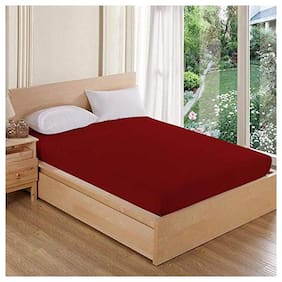 AVI High Quality Queen SizeMattress Cover (60x78) With Set of 2 Standard Size Pillow Protector/Waterproof Pillow Cover (17x27)-(Maroon)