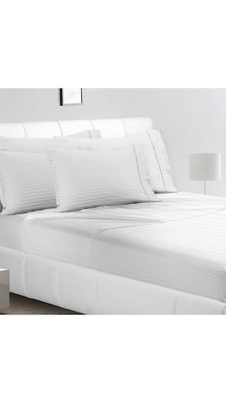 AVI Cotton Striped King Size Bedsheet 144 TC ( 1 Bedsheet With 2 Pillow Covers , White )