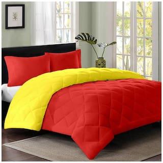 AVI Reversable Double Duvet/Razai/Quilt/comforter-60x90 -Grey;Lemon