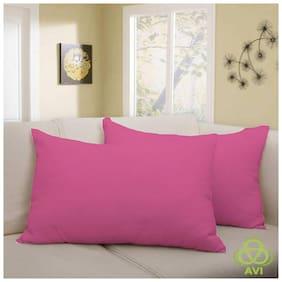 AVI Blended Plain Pillow Covers ( Pack of 2 , Pink )