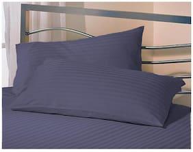 AVI Blended Striped Pillow Covers ( Pack of 1 , Blue )