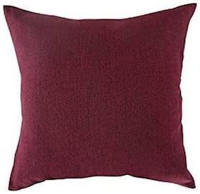 AVI Plain Cotton Maroon Cushion Cover ( Large , Pack of 2 )