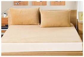 AVI Set of 2 Pcs Waterproof Dustproof Small Queen Size Fitted Mattress Protector With Set of 4 Zipper Pillow Protector-60x72 (Beige)